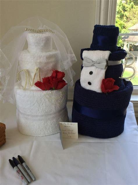 Bride and Groom Towel Cake   Baskets/cakes   Pinterest