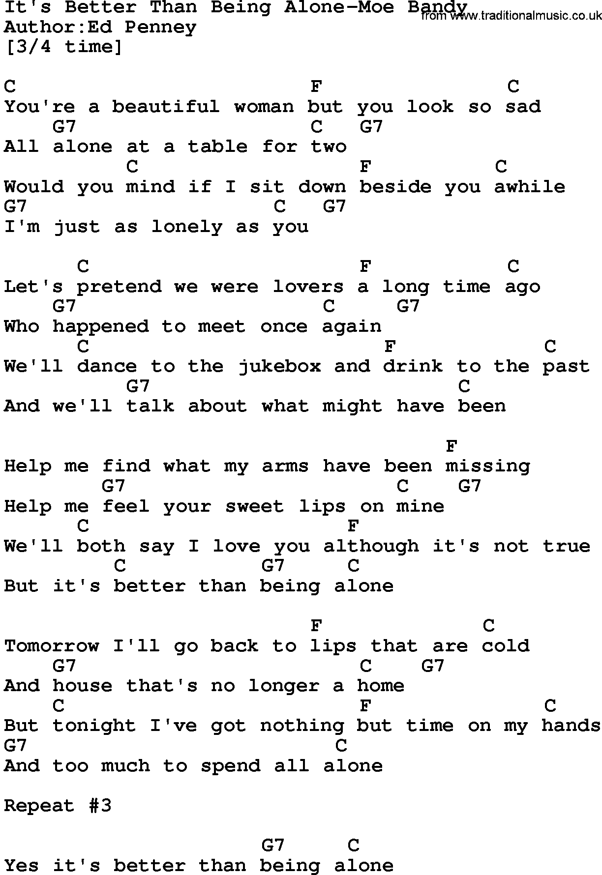 Country Musicits Better Than Being Alone Moe Bandy Lyrics And Chords
