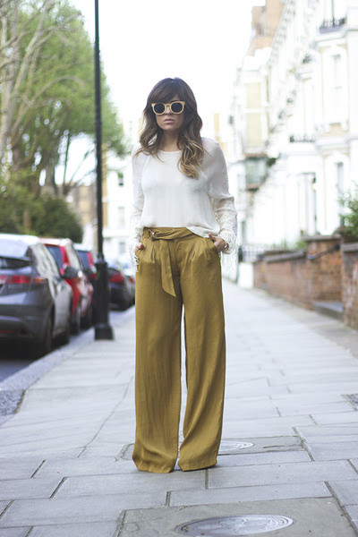 white H&M shirt - mustard karomba sunglasses - olive green Zara pants