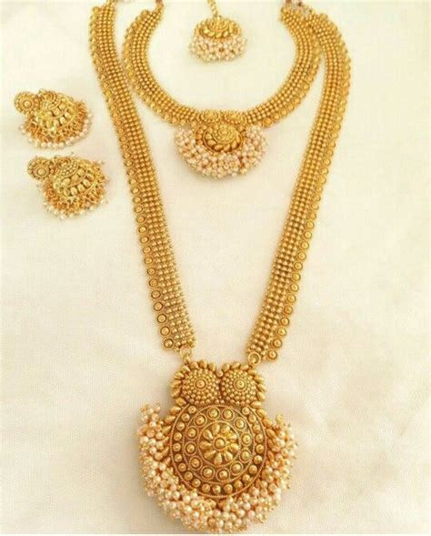 Beautiful South Indian Double Long Necklace Set   South