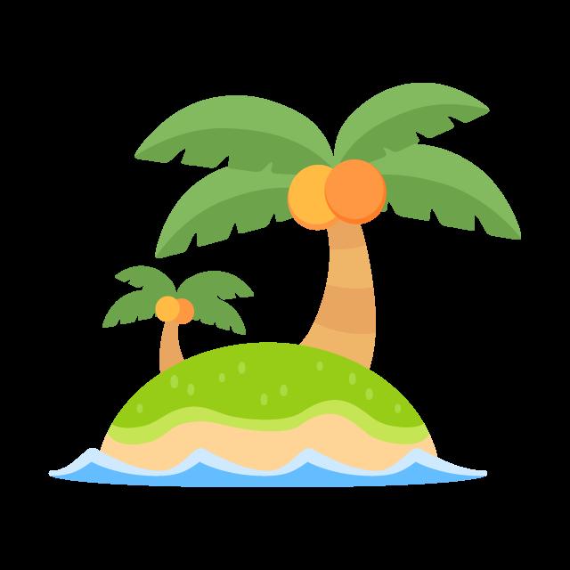 南の島に生えた2本のヤシの木の無料ベクターイラスト素材 Picaboo