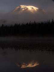 Mount Rainier in Fog at Reflection Lake, Sunrise