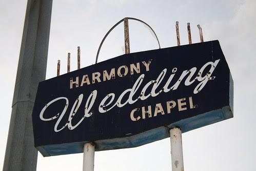 harmony wedding chapel neon sign