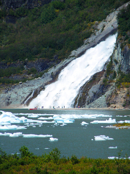 tourists and waterfall, Mendenhall Glacier, Juneau, Alaska