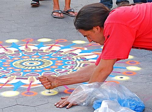 Joe Mangrum's sand painting, Union Square, New York City