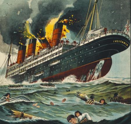 lusitania on fire