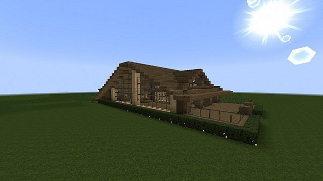 Modern wood house Minecraft Project