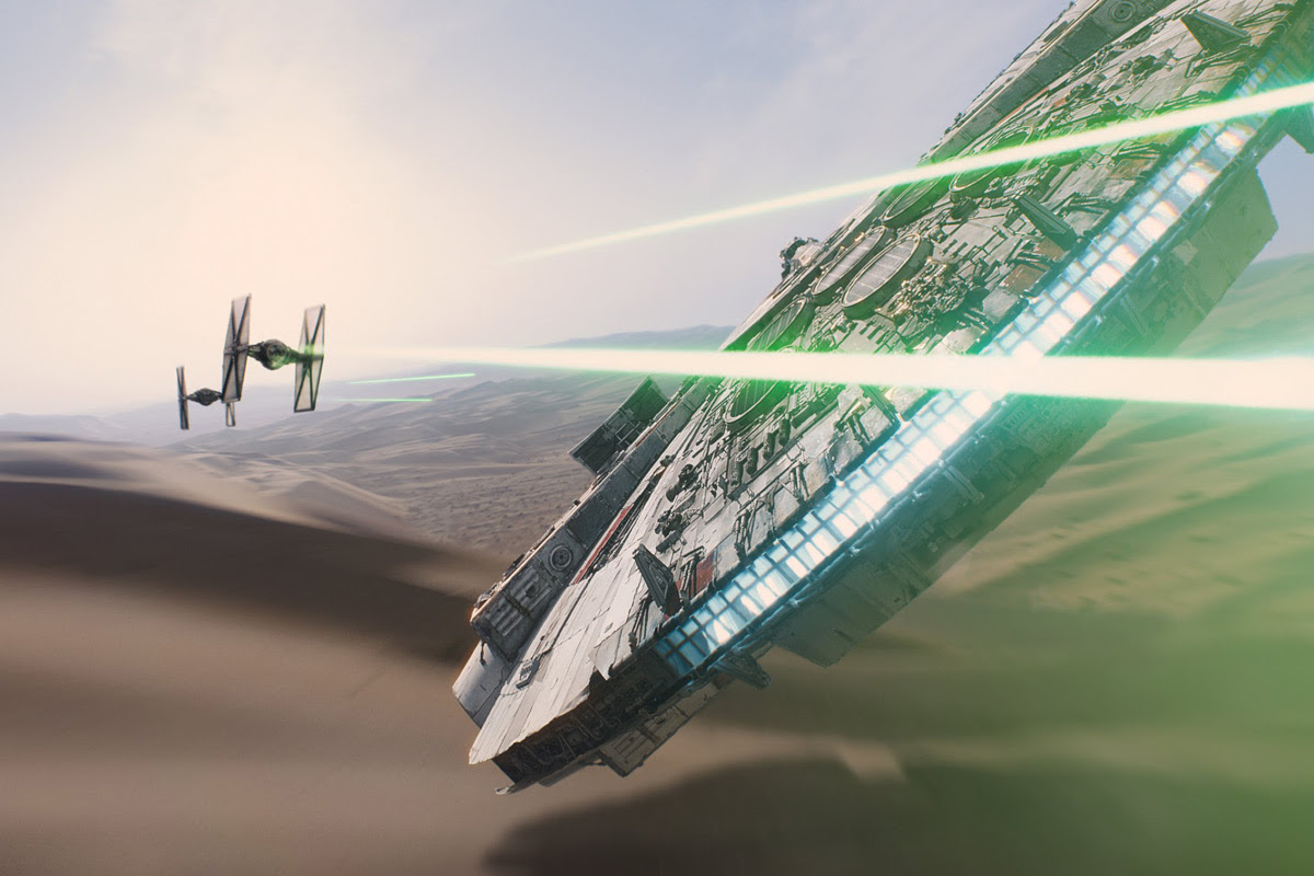 The Millennium Falcon in 'Star Wars: The Force Awakens'