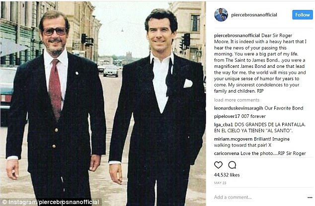 Fellow Bond actors have been leading tributes to Sir Roger, left, including Pierce Brosnan, right, who called him 'magnificent'