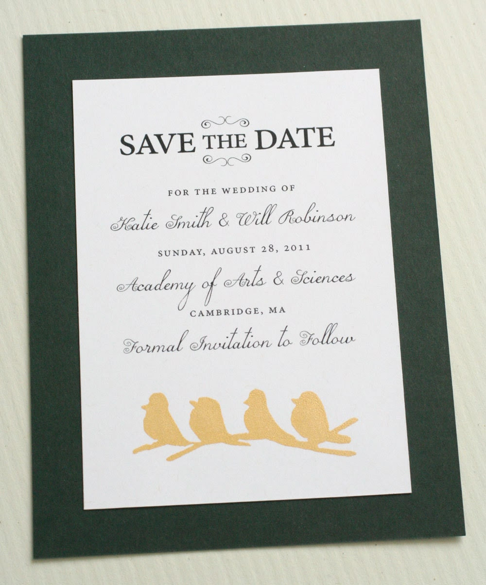 Four little birds screen-printed in metallic gold save the date card