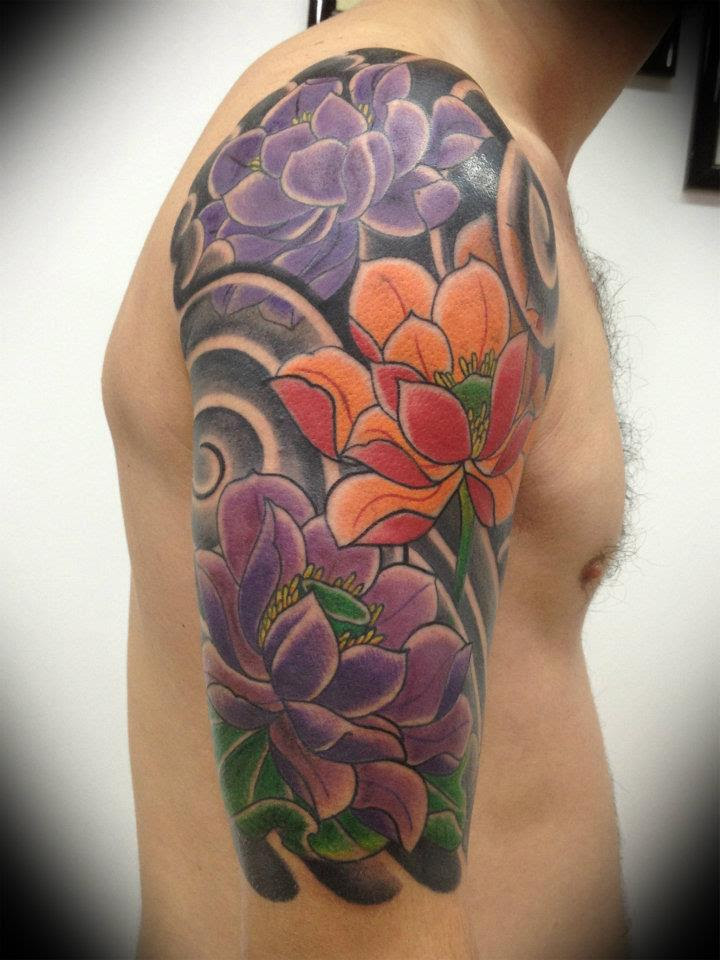 Japanese Flower Tattoos On Right Half Sleeve