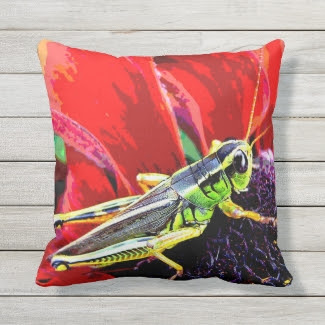 Green Grasshopper on Red Animal Outdoor Pillow