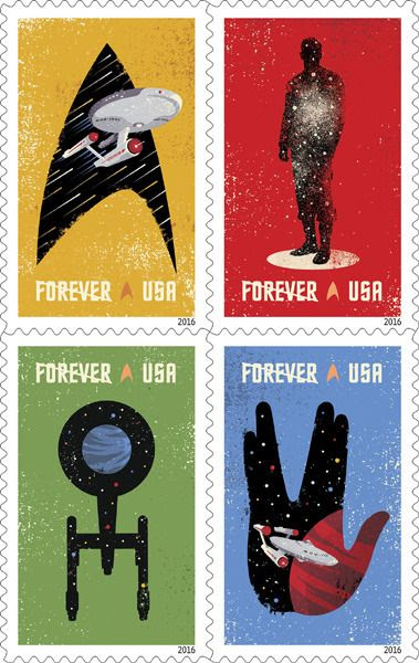 New U.S. Postal Service stamps celebrating the 50th anniversary of STAR TREK next year.