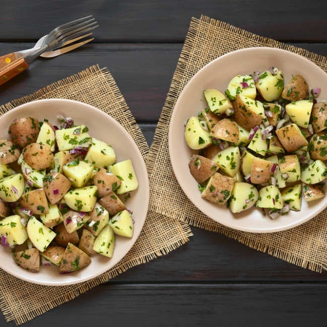 Potatoes with Herb Vinaigrette Recipe: How to Make Potatoes with Herb Vinaigrette