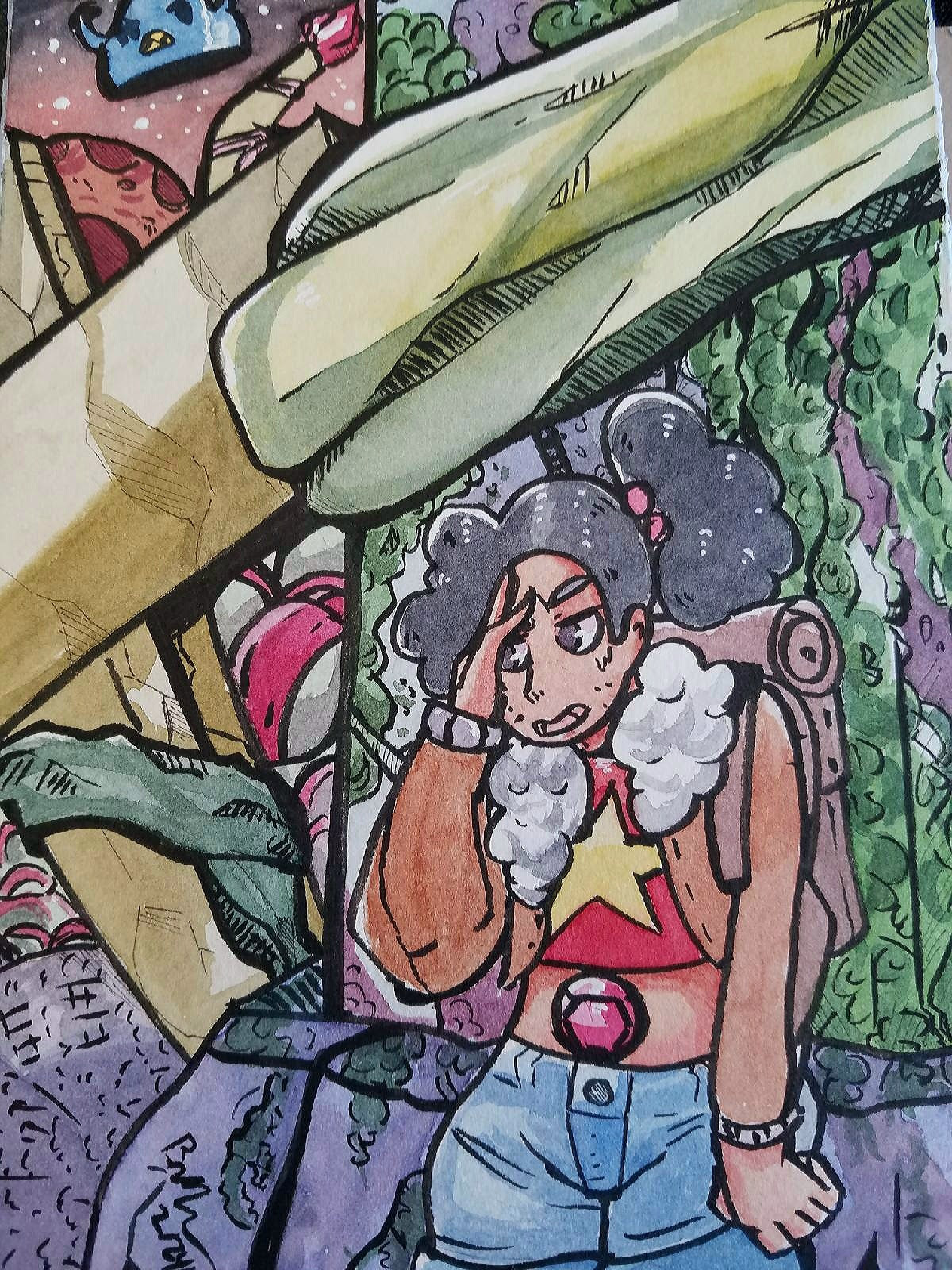 Jungle Moon was an amazing episode. Especially when Stevonnie was under attack from Mama Bird Blob. Watercolor request done for a good friend. Done with my White Nights Watercolor set.