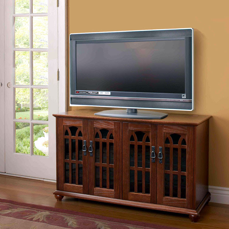 Leslie Dame Mission Style 50 inch TV Stand with Glass ...