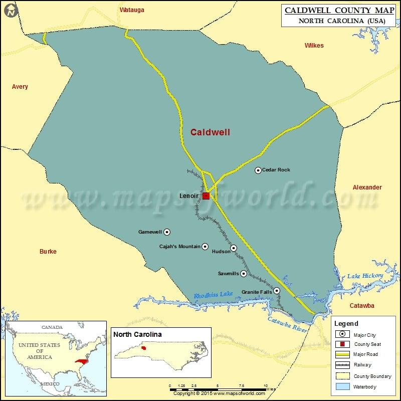 Caldwell County Map North Carolina