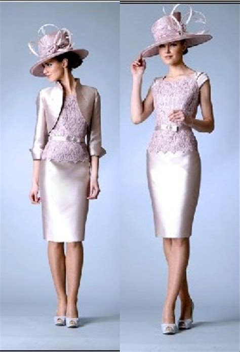 knee length lacesatin mother   bride outfits wedding
