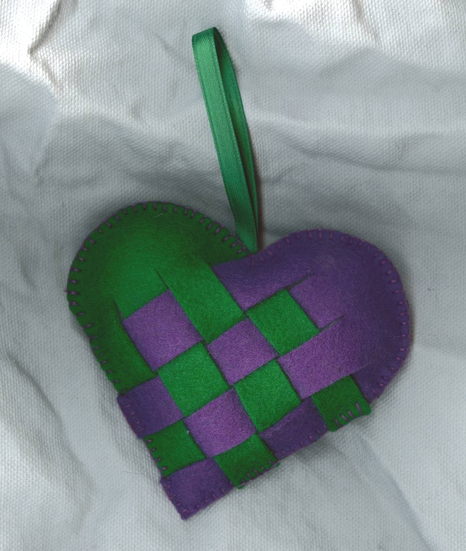 Purple and Green Woven Heart - Swedish and Danish Inspired Design - Home Decor or Ornament - Naturalkids Etsymom Team MN and SHE Team