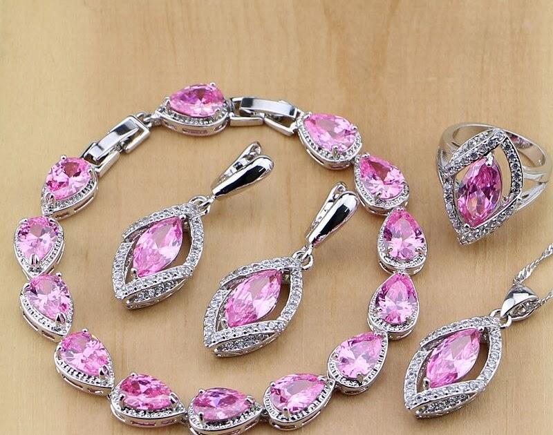 6a57e07f74f0 Comprar Rombo Rosa ZIRCON 925 Juegos De Joyería Para Las Mujeres Boda  Pendientes colgante Collar Anillos pulsera Online Baratos