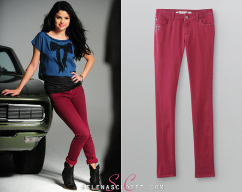 Color skinny jeans are very in for the fall season. Selena Gomez modeled her own Dream Out Loud Color Skinny Jeans for the collection's Fall 2012 spread.  These Jeans come in a selection of four colors, and are an affordable $22.00 exclusively at Kmart! Buy them HERE. She's also wearing a Dream Out Loud Junior's Crepe Blouse