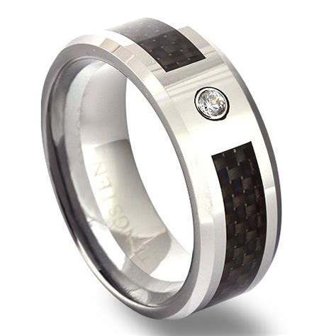Mens Tungsten Wedding Band with Cubic Zirconia & Carbon