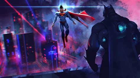 Batman Vs Superman Neon Lights Artwork, HD Artist, 4k