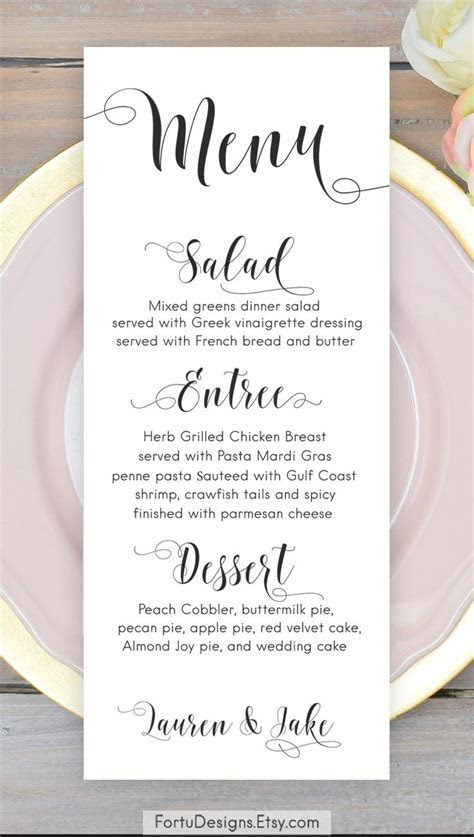 Calligraphy MENU Wedding menu Printable menu cards Script