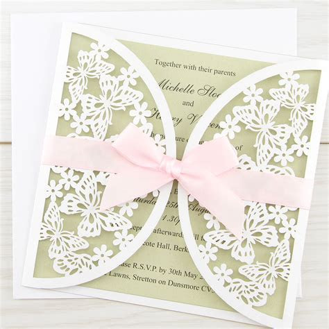 Butterfly Laser with Bow Wedding Invitation   Pure