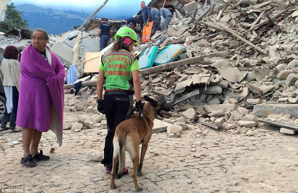 Uma família de quatro também foram relatados mortos na cidade de Accumoli - apenas quatro milhas de onde a fonte do terremoto (foto, um trabalhador de resgate inspeciona os danos em Amatrice)
