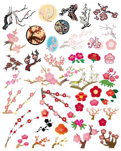 梅の木梅の花のイラストaieps ベクタークラブイラストレーター