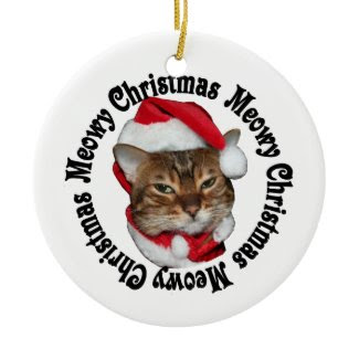 Meowy Christmas Small Design Double-Sided Ceramic Round Christmas Ornament