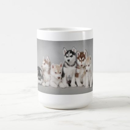 Husky puppies mug