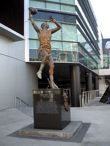 A photo I took of Kareem Abdul-Jabbar's new statue outside of STAPLES Center in Los Angeles, on December 7, 2012.