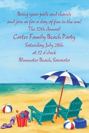 Custom Day at the Beach Summer Invitations   Party City