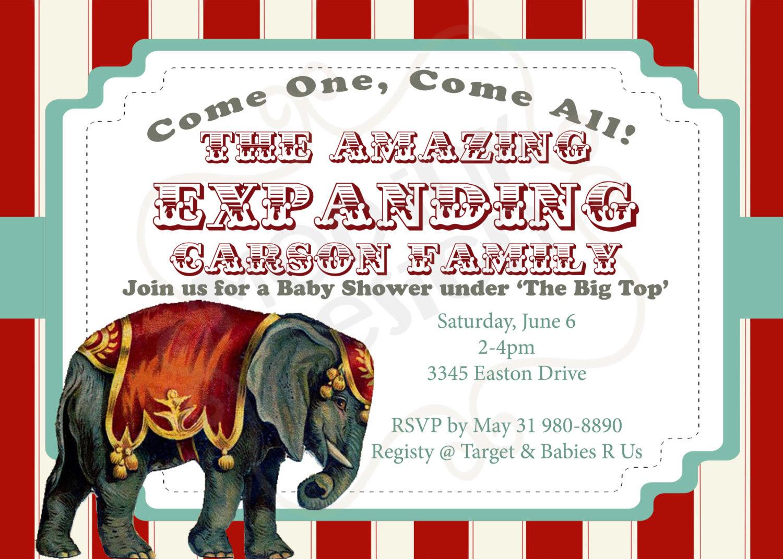 Elegant Baby Shower Circus Invitations