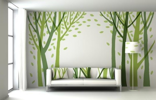 Wall Stickers : Green Wall Decor Ideas for Living Room - Modern ...