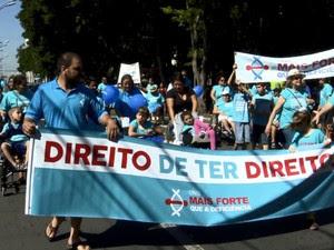 'Cadeiraço' cobrou acessibilidade em Rio Claro (Foto: Wilson Aiello/EPTV)