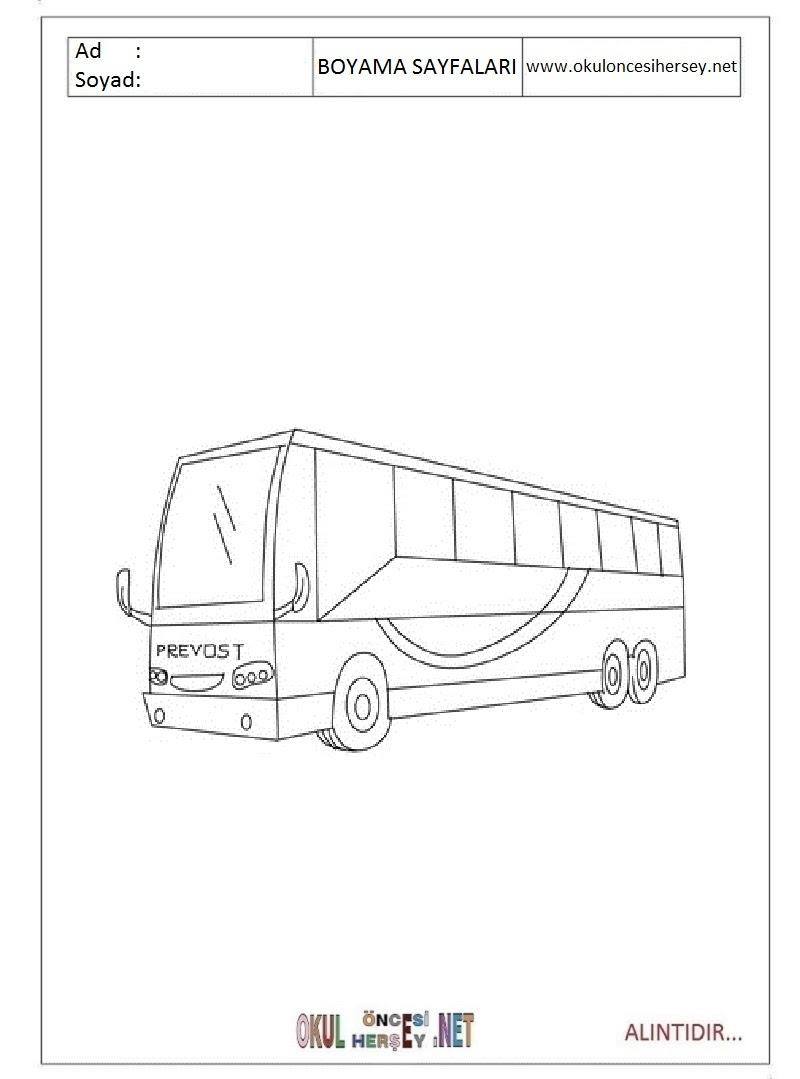 Otobüs Boyama Sayfaları