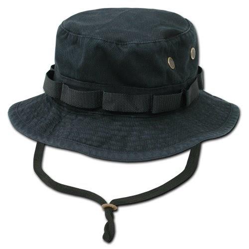 56a2a60f3eeb82 Boonie Hat: Black Military Inspired Combat Style Drawstring Boonie Hat -- Bucket  Hat Size MEDIUM