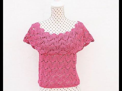 فيديو شرح طريقة عمل بلوزة جميع الأحجام سهل جدا وسريع نسائي بالخطوات كروشية Women's blouse all sizes very easy and fast كروشيه