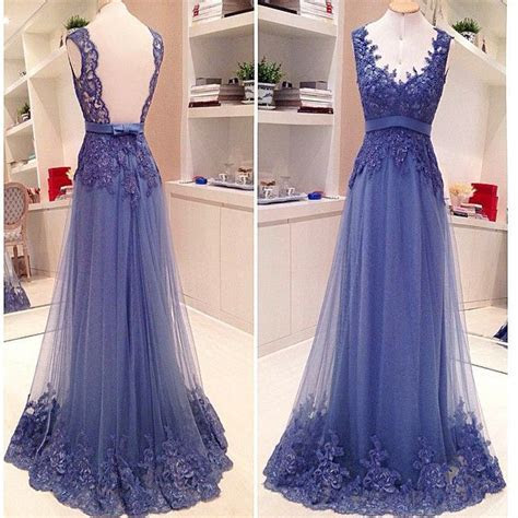 Blue Lace Open Back A line Elegant Vintage Formal Evening