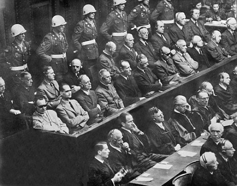 Hess with other Nazi leaders at the Nuremberg Trials where he seemed to be the mentally ill character Hitler described