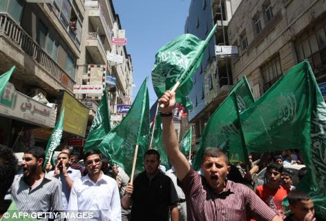 Demo: Supporters of the Islamic Hamas movement call for the release of prisoners held in Israeli jails during the protest in Ramallah