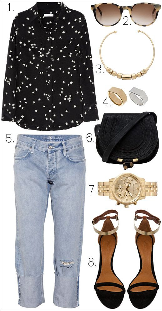 LE FASHION BLOG OUTFIT COLLAGE GET THE LOOK Equipment Star Print Slim Signature Blouse Prism Paris Tort Shell Sunglasses Madewell Geo Chunky Collar Necklace ASOS Multipack Flat Top Rings MiH Jeans Phoebe Mid Rise Boyfriend Jeans Chloe Marcie Satchel Black Bag Michael Kors Gold Crystal Chronograph Watch Isabel Marant Adele Heel Black Gold Metallic Metal Ankle Strap