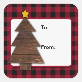 Buffalo Plaid, Wood Tree Christmas Square Stickers