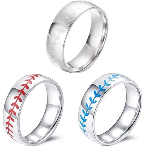 8mm Stainless Steel Baseball Ring Sports Outdoors Exercise