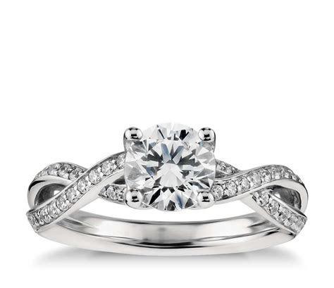 Twist Pavé Diamond Engagement Ring in Platinum (1/4 ct. tw