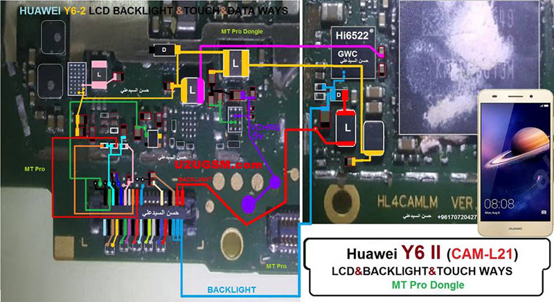 Huawei Y6 II Cell Phone Screen Repair Light Problem Solution Jumper Ways