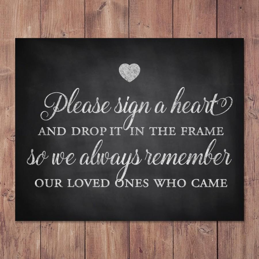 Rustic Wedding Guest Book Sign Please Sign A Heart And Drop It In